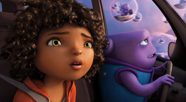 "In this image released by DreamWorks Animation, characters Oh, voiced by Jim Parsons, right, and Tip, voiced by Rihanna appear in a scene from the animated film ""Home."" (AP Photo/DreamWorks Animation)  ORG XMIT: NYET116"
