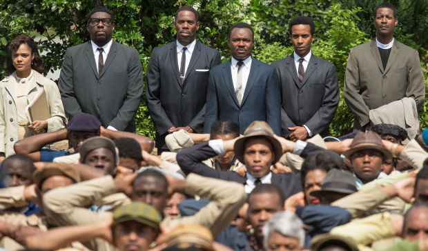SELMA - 2014 FILM STILL - Background left to right: Tessa Thompson as Diane Nash, Omar Dorsey as James Orange, Colman Domingo as Ralph Abernathy, David Oyelowo as Martin Luther King, Jr., Andr¾© Holland as Andrew Young, Corey Reynolds as Rev. C.T. Vivian, and Lorraine Toussaint as Amelia Boynton - Photo Credit: Atsushi Nishijima   © MMXIV Paramount Pictures. All Rights Reserved.