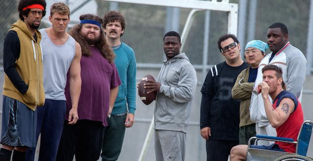 "(L to R) Reggie (Affiom Crockett), Kip (Alan Ritchson) , Lurch (Jorge Garcia), Bronstein ""Dan Gill"", Jimmy (Kevin Hart), Doug (Josh Gad), Endo (Aaron Takahashi), and Fitzgibbons (Colin Kane) in Screen Gems' THE WEDDING RINGER."