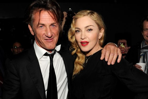 NEW YORK, NY - SEPTEMBER 24: (Exclusive Coverage) Sean Penn and Madonna attend Madonna and Steven Klein secretprojectrevolution at the Gagosian Gallery on September 24, 2013 in New York City. (Photo by Kevin Mazur/Getty Images)