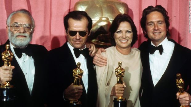 THE 48TH ANNUAL ACADEMY AWARDS - Show Coverage - Airdate: March 29, 1976. (Photo by ABC Photo Archives/ABC via Getty Images) SAUL ZAENTZ;JACK NICHOLSON;LOUISE FLETCHER;MICHAEL DOUGLAS