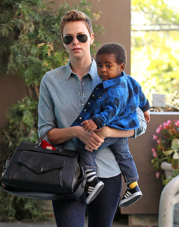 51013080 'Prometheus' actress Charlize Theron takes her son Jackson to a children's gym in West Hollywood, California on February 12, 2013. FameFlynet, Inc - Beverly Hills, CA, USA - +1 (818) 307-4813